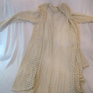 Cute Floral Lace Cream Long-Sleeved Sweater
